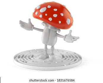 Toadstool character inside maze isolated on white background. 3d illustration