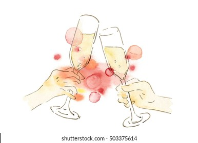 I toast by champagne glass