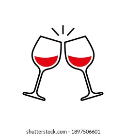Toast clink two glasses with red wine. Raster illustration
