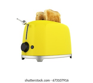 Toaster with toasted bread isolated on white background Kitchen equipment Close up 3d without shadow