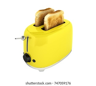 Toaster with toasted bread isolated on white background Kitchen equipment Close up without shadow 3d