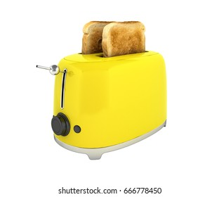 Toaster with toasted bread without shadow on white background Kitchen equipment Close up 3d