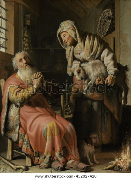 Tobit Anna Kid By Rembrandt Van Stock Illustration 452827420