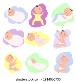 Toddlers set. Cartoon baby in different positions. Newborn child, little Kid sleep, sit, play. vector collection of clip art