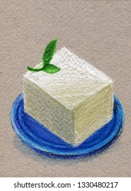 Tofy, Soy cheese with greens on a blue plate. Color pencil drawing