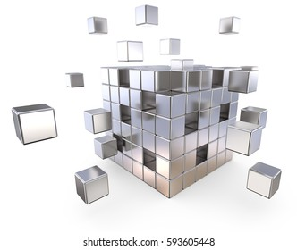 Together. Metal Cube with some loose Cubes. Depth of field. 3D render.