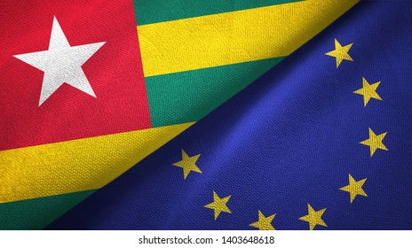 Togo and European Union two flags textile cloth, fabric texture