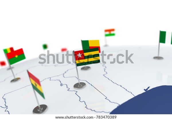 Togo flag. Country flag with chrome flagpole on the world map with neighbors countries borders. 3d illustration rendering flag