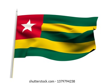 Togo flag floating in the wind with a White sky background. 3D illustration.