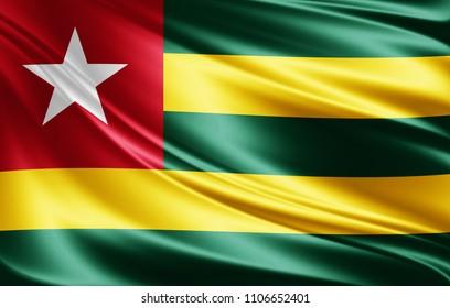 Togo flag of silk-3D illustration