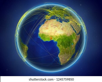 Togo from space on planet Earth with digital network representing international communication, technology and travel. 3D illustration. Elements of this image furnished by NASA.