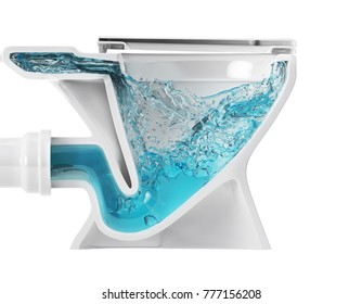 Toilet bowl structure (system) cross section. The flushing of the toilet. 3D illustration. Isolated on white background.