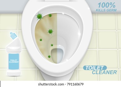 Toilet cleaner gel ads. Realistic 3d illustration with top view. Graphic concept for your design