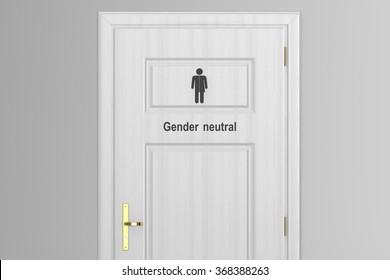 toilet door for gender neutral isolated on white background