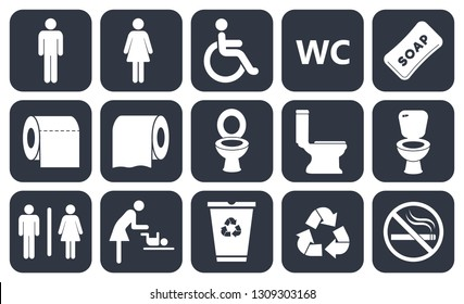 toilet icons set, boy or girl restroom wc