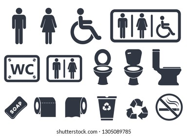 toilet icons set, male or female restroom wc