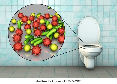 Toilet microbes, conceptual 3D illustration. Transmission of diarrheal infections. Closeup view of bacteria transmitted by fecal-oral mechanism, such as Escherichia coli, Salmonella, Shigella and