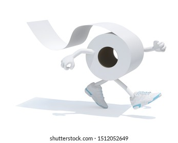 toilet paper with arms legs and sneakers on feet, 3d illustration