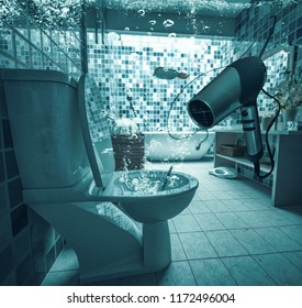 Toilet Plugged   Flooded Bathroom (3d Rendering)