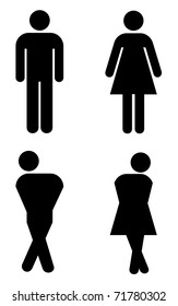 toilet sign, with silhouettes like holding pee.