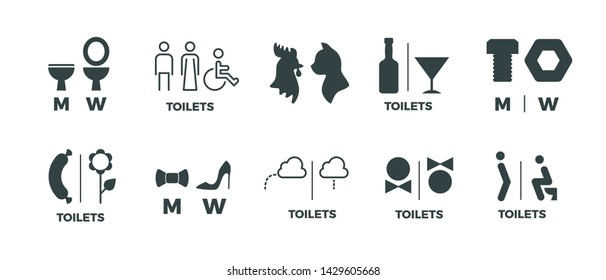 Toilet signs. He she WC door symbols, man and woman bathroom direction signs.  funny icons of restroom pictogram set