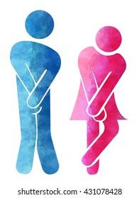 Toilet symbol, bathroom man and woman