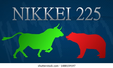 Tokyo - AUG 2019: Illustration of a standoff between the market's bulls and bears in the Japanese stock market index Nikkei 225. A green bull versus a red bear with a blue background and a chart.