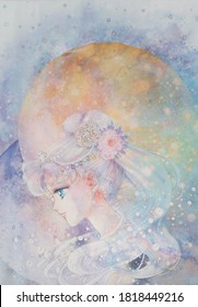 TOKYO, JAPAN, APRIL 16, 2016: Hand painted watercolor work in The Exhibition of Pretty Guardian Sailor Moon is being held at the 52nd floor of Mori Tower in Roppongi, Tokyo.