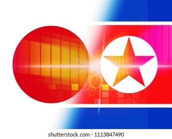 Tokyo And North Korea Dprk Nuke Crisis 3d Illustration. Talks Hope And Military Meeting Between Countries - Japan And Pyongyang