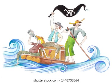 Tom sawyer, huckleberry finn, on a raft, friends playing pirates, kids on adventure, funny friends, pirates, pencil drawing raft on the water with boys playing