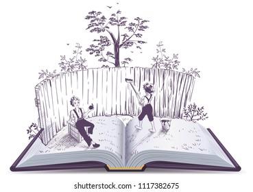 Tom Sawyer paints fence open book illustration