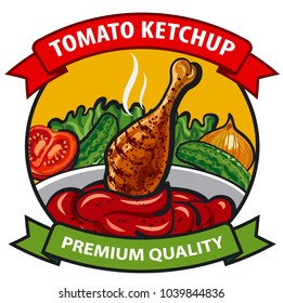 tomato ketchup label design, tomato sauce with chicken, onion, cucumber, vegetables, spices, drumstick