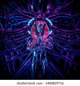 Tomb of the neo pharaoh / 3D illustration of metallic futuristic male Egyptian pharaoh robot surrounded by alien machinery