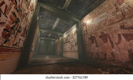 Tomb with old wallpaintings in ancient Egypt. 3D rendering