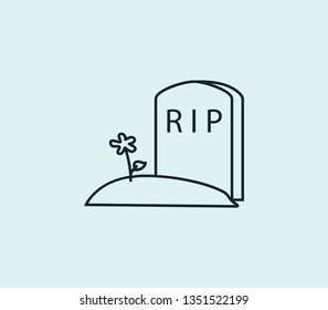 Tombstone icon line isolated on clean background. Tombstone icon concept drawing icon line in modern style.  illustration for your web mobile logo app UI design.