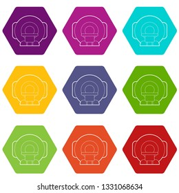 Tomograph icons 9 set coloful isolated on white for web