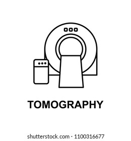 tomography machines icon. Element of treatment with name for mobile concept and web apps. Thin line tomography machines icon can be used for web and mobile. Premium icon on white background