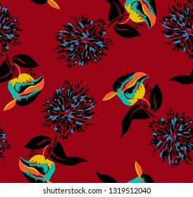 tomurcuk ve dallı çiçek desenli tasarım. kırmızı, sarı, mavi renkli