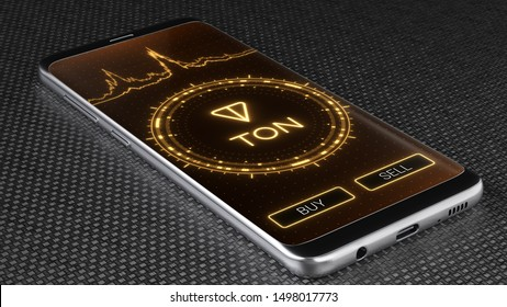 Ton crypto currency symbol on mobile app screen. Price graph, buy and sell buttons. Trading concept 3D illustration
