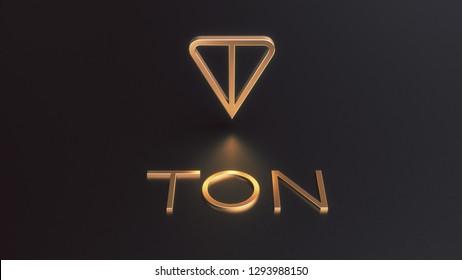 Ton logo. Telegram cryptocurrency golden icon 3d illustration