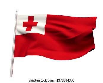 Tonga flag floating in the wind with a White sky background. 3D illustration.
