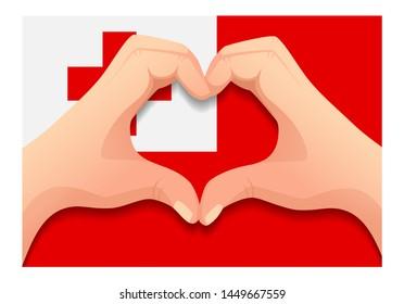 Tonga flag and hand heart shape. Patriotic background. National flag of Tonga  illustration