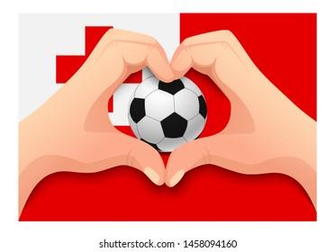 Tonga flag and hand heart shape. National football background. Soccer ball with flag of Tonga illustration