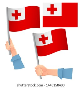 Tonga flag in hand. Patriotic background. National flag of Tonga  illustration