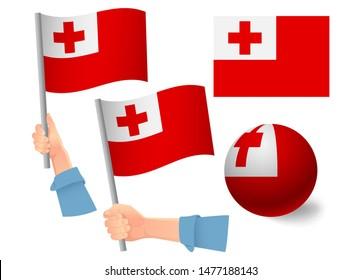 Tonga flag in hand set. Ball flag. National flag of Tonga  illustration