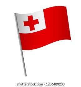 Tonga flag icon. National flag of Tonga on a pole  illustration.