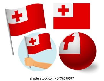 Tonga flag icon set. National flag of Tonga  illustration