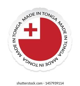 Tonga Flag .Tonga national official colors, Made in Tonga a white background.