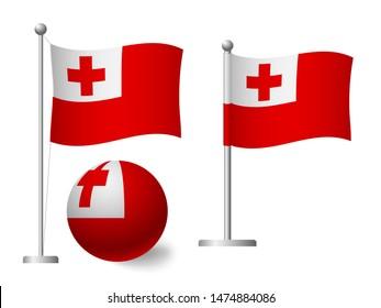 Tonga flag on pole and ball. Metal flagpole. National flag of Tonga  illustration