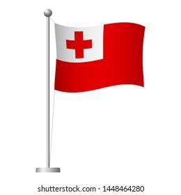 Tonga flag on pole. Metal flagpole. National flag of Tonga  illustration